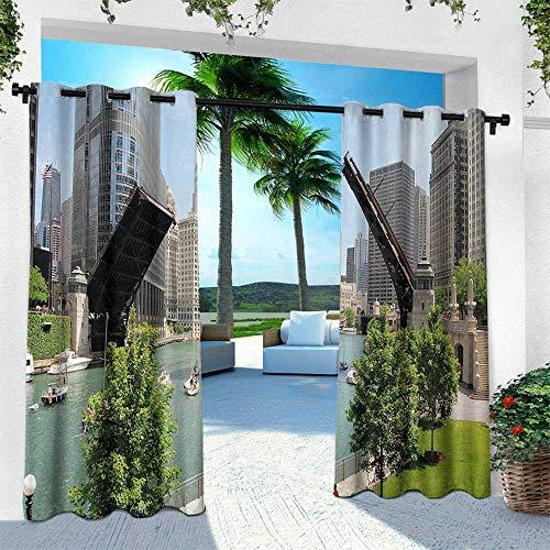 Hengshu United States, Indoor/Outdoor Single Panel Print Window Curtain,Downtown Chicago Illinois Finance Business Center Lake Michigan Avenue Bridge, W120 x L84 Inch, ()
