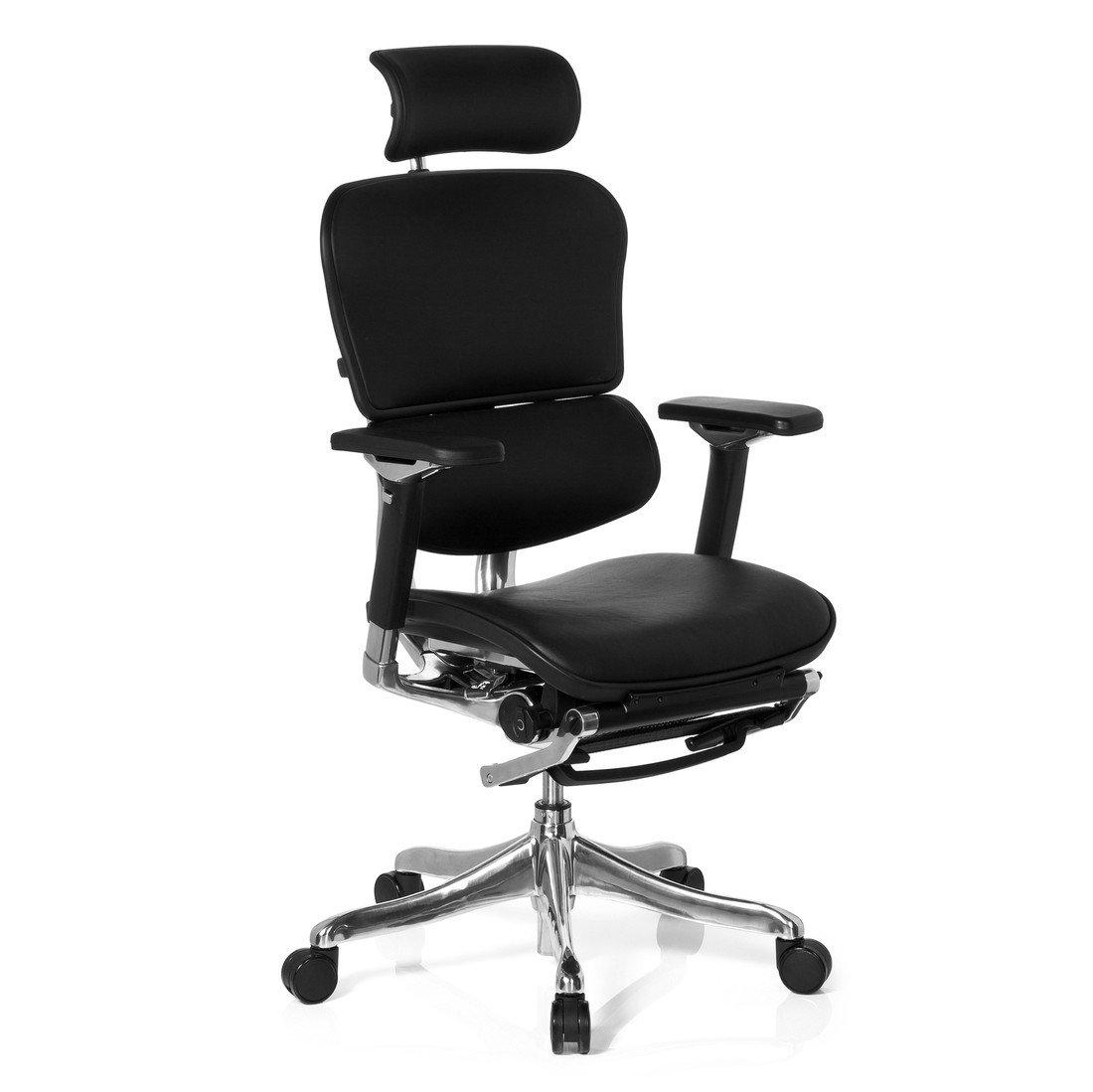 HJH Office 652990 Bürostuhl, Chefsessel Ergohuman Legpro mit Beinablage Leder schwarz
