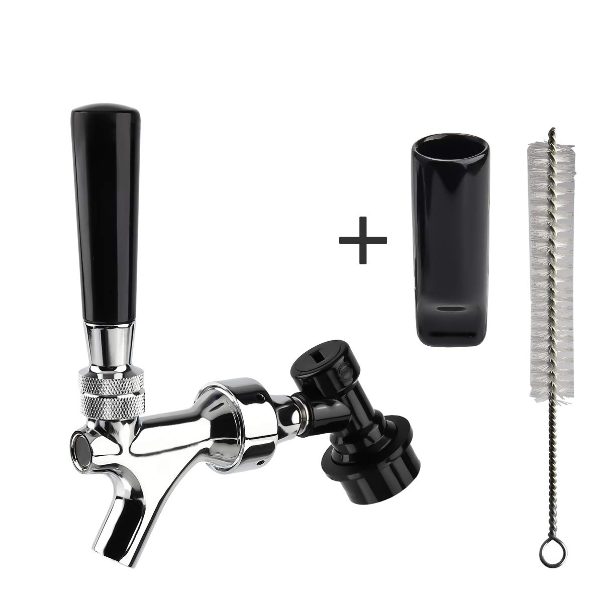 Keg Tap Faucet, Kegerator Faucet, Chrome Plated Brass Draft Beer Tap, With Black Handle & Tap Brush & Faucet Cap & Ball Lock & Quick Disconnect Adapter,Stainless Steel Shaft And Lever