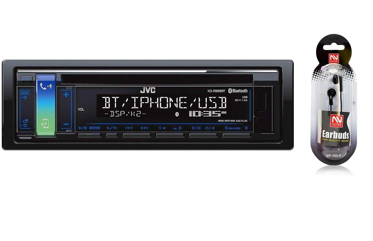 JVC KD-R888BT CD/MP3 Car Stereo USB AUX AM/FM Radio iPod/iPhone/Android Receiver Built in Bluetooth Hands Free Calling Audio Streaming iHeartRadio Detachable Face/Free NUTEK Earbuds