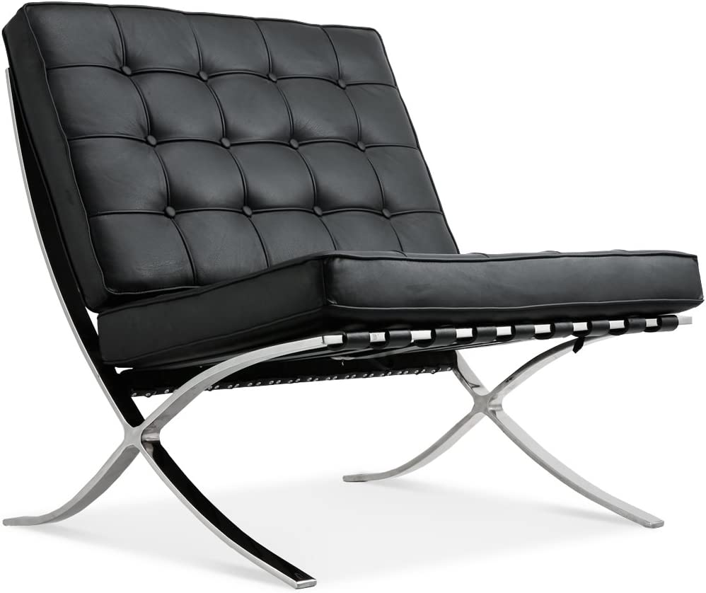 MOOSENG Barcelona Pavilion Lounge Reception Love Seat Chair Top Grain Leather by Mies Ven Der Rohe, Classics Black