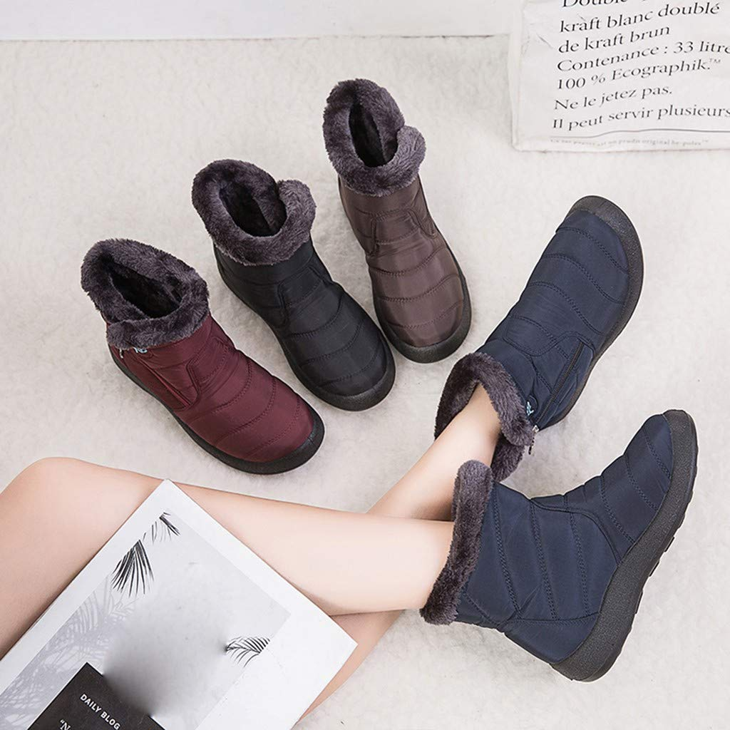 Goldweather Womens Warm Snow Boots with Zipper Waterproof Anti-Slip Fur Lined Winter Ankle Boots