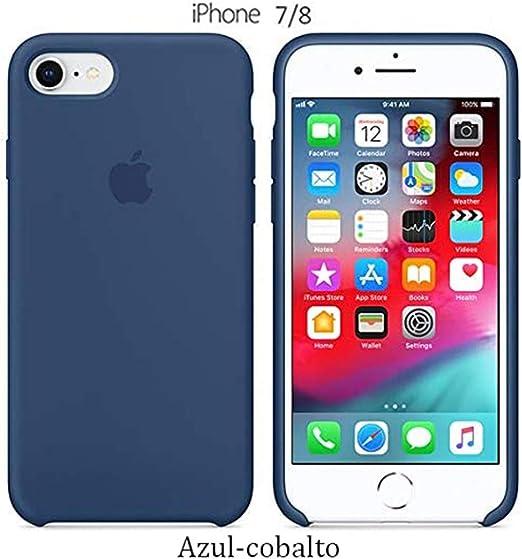 Image of Funda Silicona para iPhone 8 iPhone 7, SE 2ª generación, Silicone Case Calidad, Textura Suave, Forro Interno Microfibra (Azul-Cobalto)
