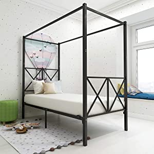 JURMERRY Metal Canopy Bed Frame with Headboard & Footboard Sturdy Steel Perfectly Easy Assembly (Black, Twin)