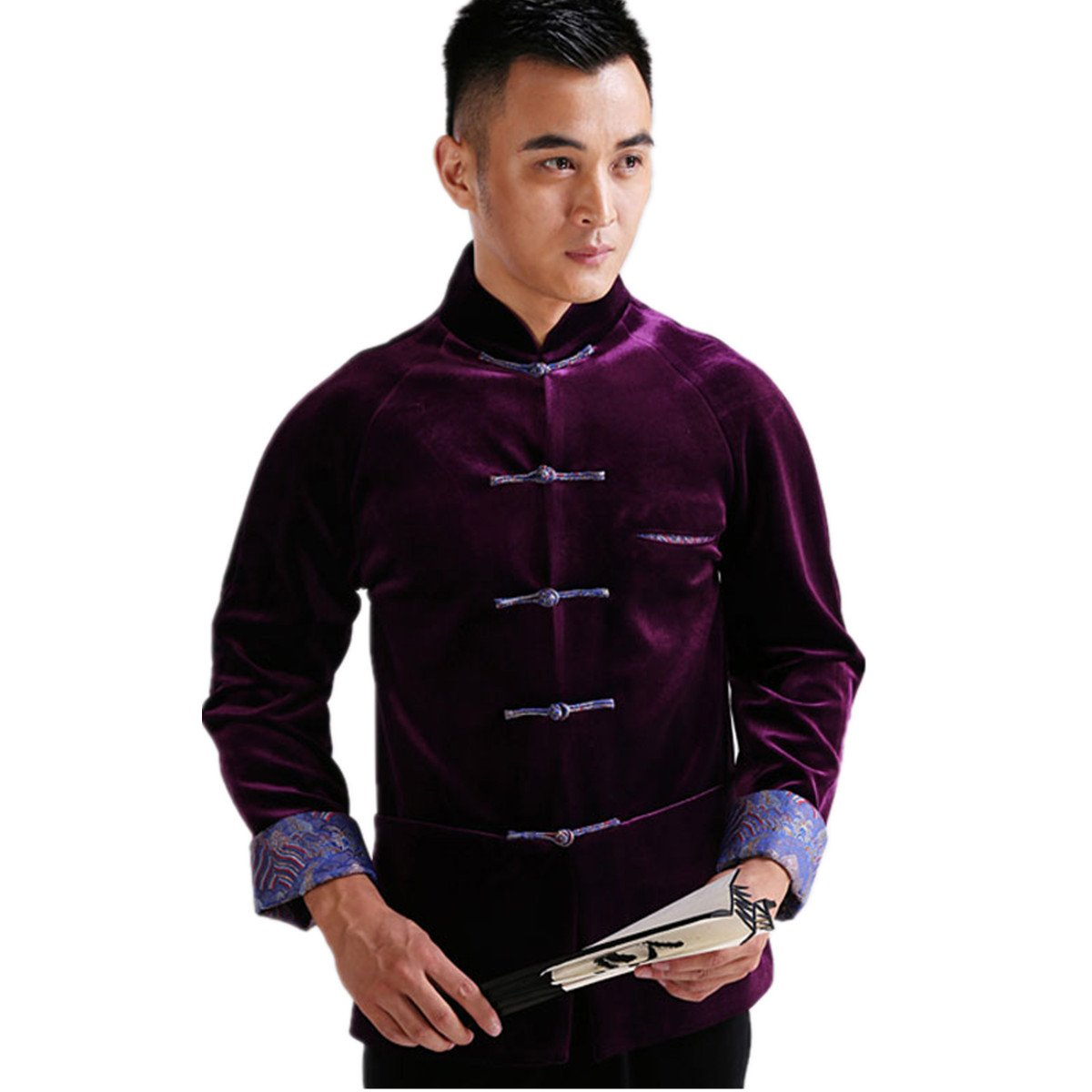 WEISAN Mens Chinese Traditional Tang Suit Velvet Chinese Kung Fu Costume Coat by WEISAN (Image #1)