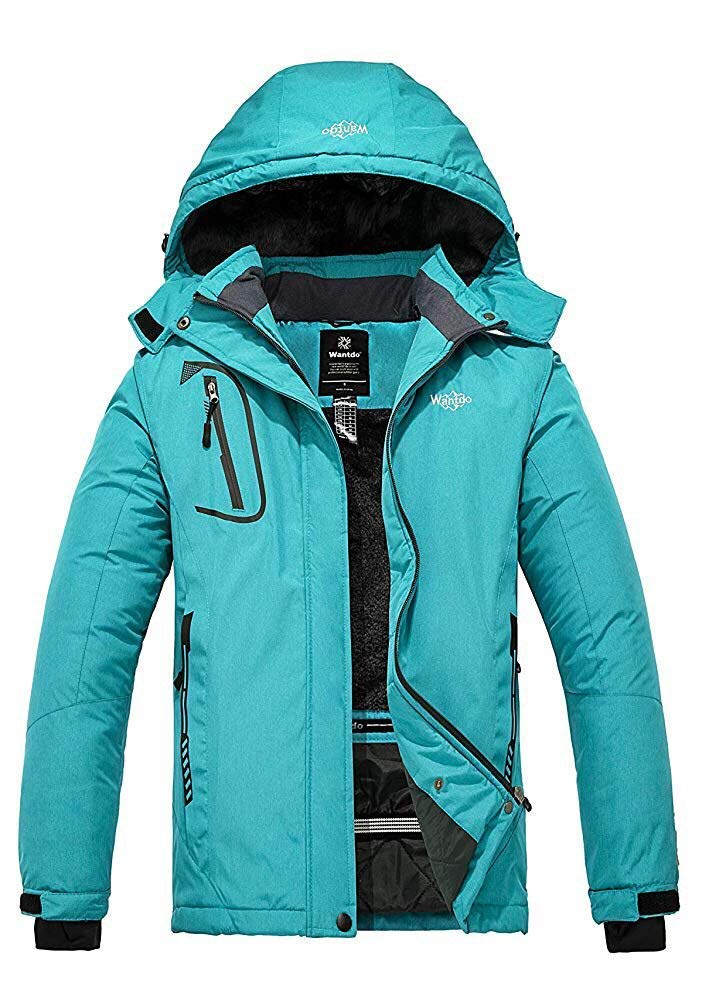 Wantdo Women's Mountain Waterproof Ski Jacket Windproof Rain Jacket Blending Teal Small by Wantdo
