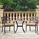 Domi Outdoor Living Aluminum 3-Piece Patio Bar Set Table Garden Furniture, 1 Dining Table, 2 Chairs, Antique Bronze