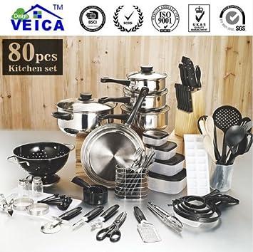 Top moda real utensilios de cocina ollas y sartenes Set 80 piezas Utensilios de cocina Starter Combo: Amazon.es: Hogar