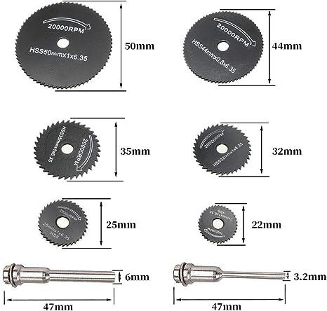 juego de corte de hoja de sierra circular HSS y portabrocas para taladro aluminio y chapas finas 22 a 50 mm fibra de vidrio pl/ástico para madera cobre Juego de 6 hojas de sierra HSS