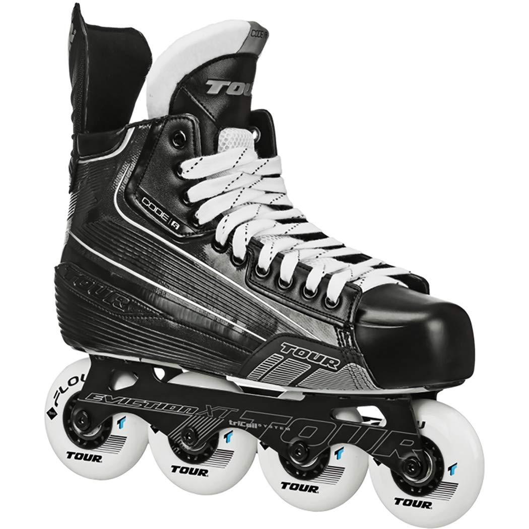 Tour Code 5 Junior Inline Hockey Skates Black Size: 4 Black by Tour (Image #1)