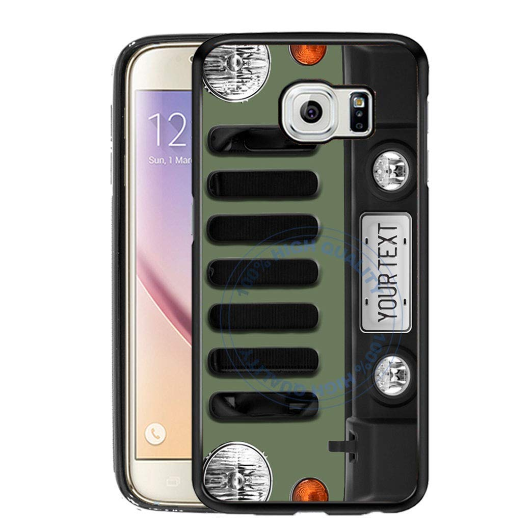 BRGiftShop Personalize Your Own SUV Bumper Car Grill Green License Plate Rubber Phone Case For Samsung Galaxy S7