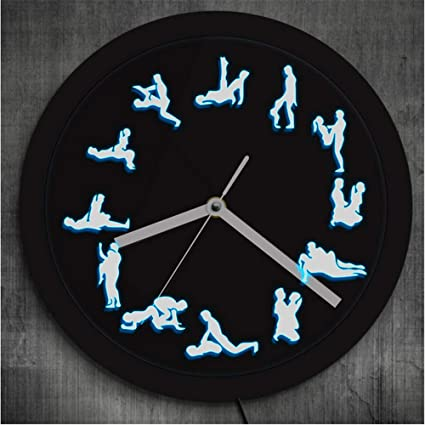 guyuell Posiciones Sexuales Decoración De Pared Reloj De Pared Luminoso Club Nocturno Iluminación Led Reloj De