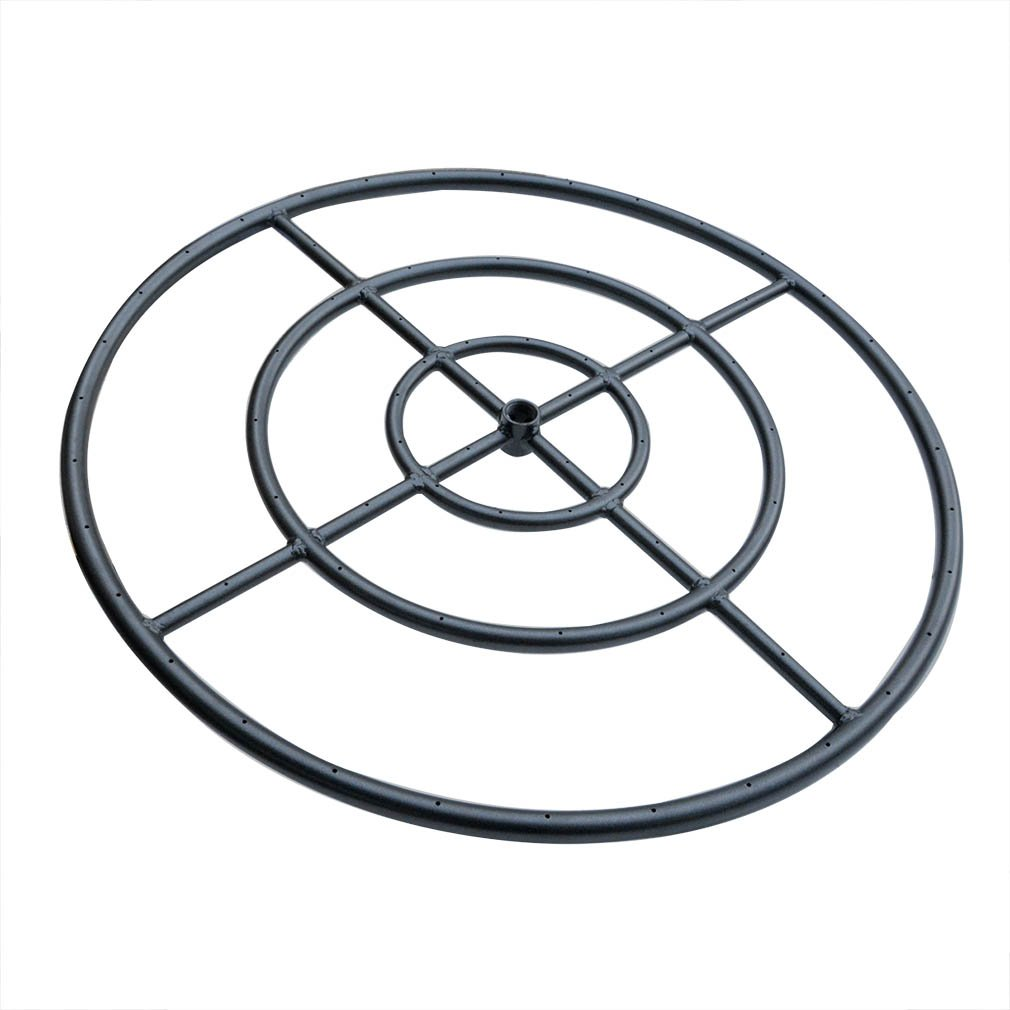 Stanbroil 30'' Round Fire Pit Burner Ring,Triple Ring, Black Steel by Stanbroil