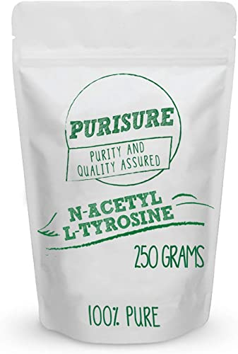 Purisure N-Acetyl L-Tyrosine NALT Powder 250g 714 Servings , Nootropic Supplement for Brain Support, Improved Stress Response, Mood Enhancement, Speeds Up Muscle Recovery