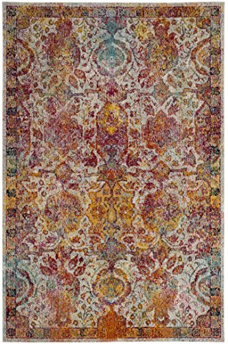 Safavieh Crystal Collection CRS505A Light Blue and Orange Bohemian Distressed Area Rug (3' x 5') Crystal Blue Collection