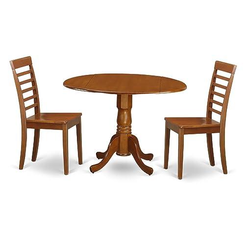 DLML3-SBR-W 3 Pc Kitchen Table set-round Kitchen Table plus 2 dinette Chairs
