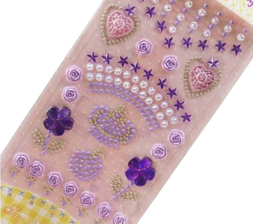 4 Sheets Acrylic Rhinestone Stickers DIY Crafts Stickers, Purple Crown