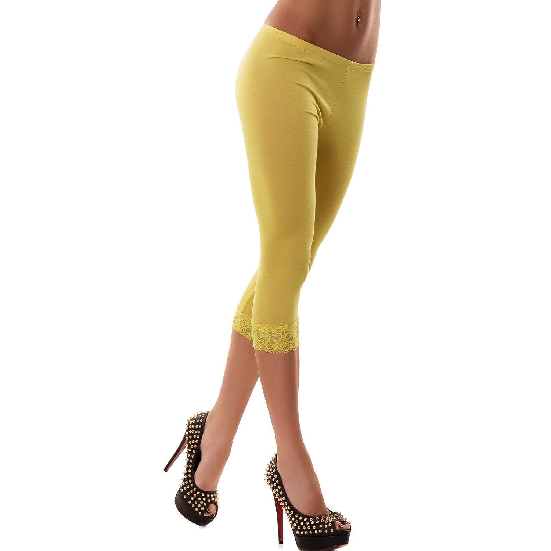 Toocool Leggings leggin pantacalza donna capri pinocchietti corti pizzo fuseaux CC-143