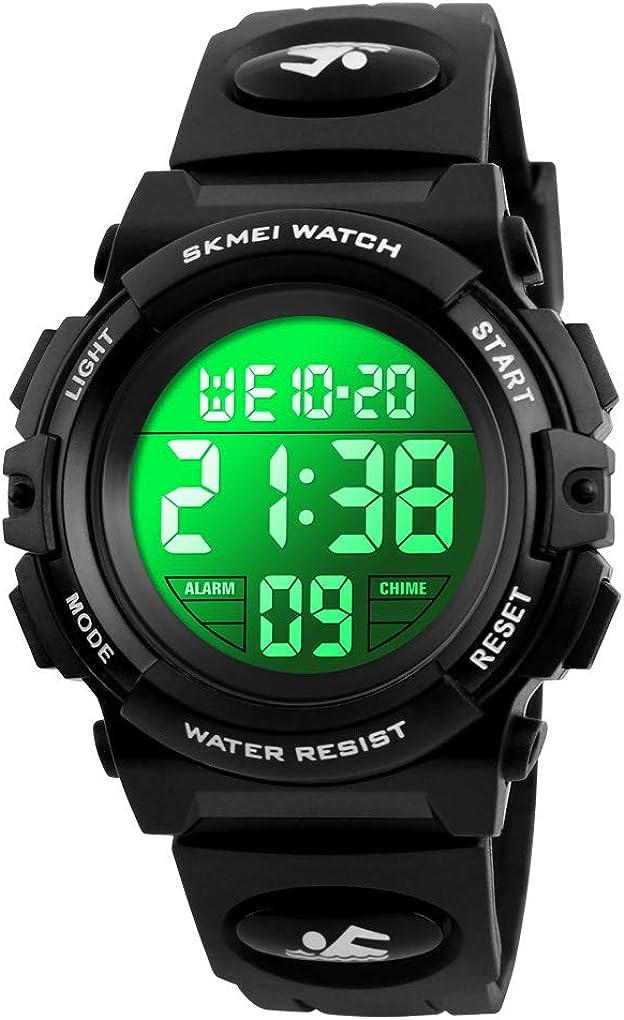 キッズデジタル腕時計 アウトドアスポーツ 50m防水 電子腕時計 目覚まし時計 12/24時間ストップウォッチ カレンダー 男の子 女の子 腕時計 ブラック(Black Black)