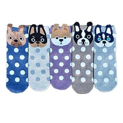5 Packs Super Cute Puppy Warm Cotton Winter Straight Crew Socks for Women Dress Skirt