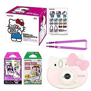 "Fujifilm Instax Mini ""Hello Kitty"" Instant Camera Set! with Instax Mini Film, Twin Pack (20 Shoots) + Hello Kitty Film (10 Shoots) + Shoulder Strap + Stickers"