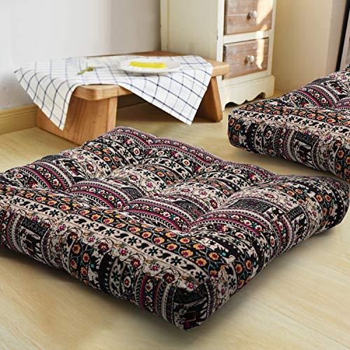 HIGOGOGO Bohemian Floor Cushion, Square Meditation Pillow Mandala Floor Seat Cushion Cotton Linen Yoga Pillow Japanese Tatami Mat for Reading Nook, Kids Playing Bay Window, 22x22 Inch, Boho Coffee