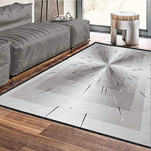 Ombre Polyester Fiber Area Rugs,Nested Squares with Ombre Lines Optical Illusion Deep Perspective Modern Design for Residential or Commercial Use Dimgray Black 71