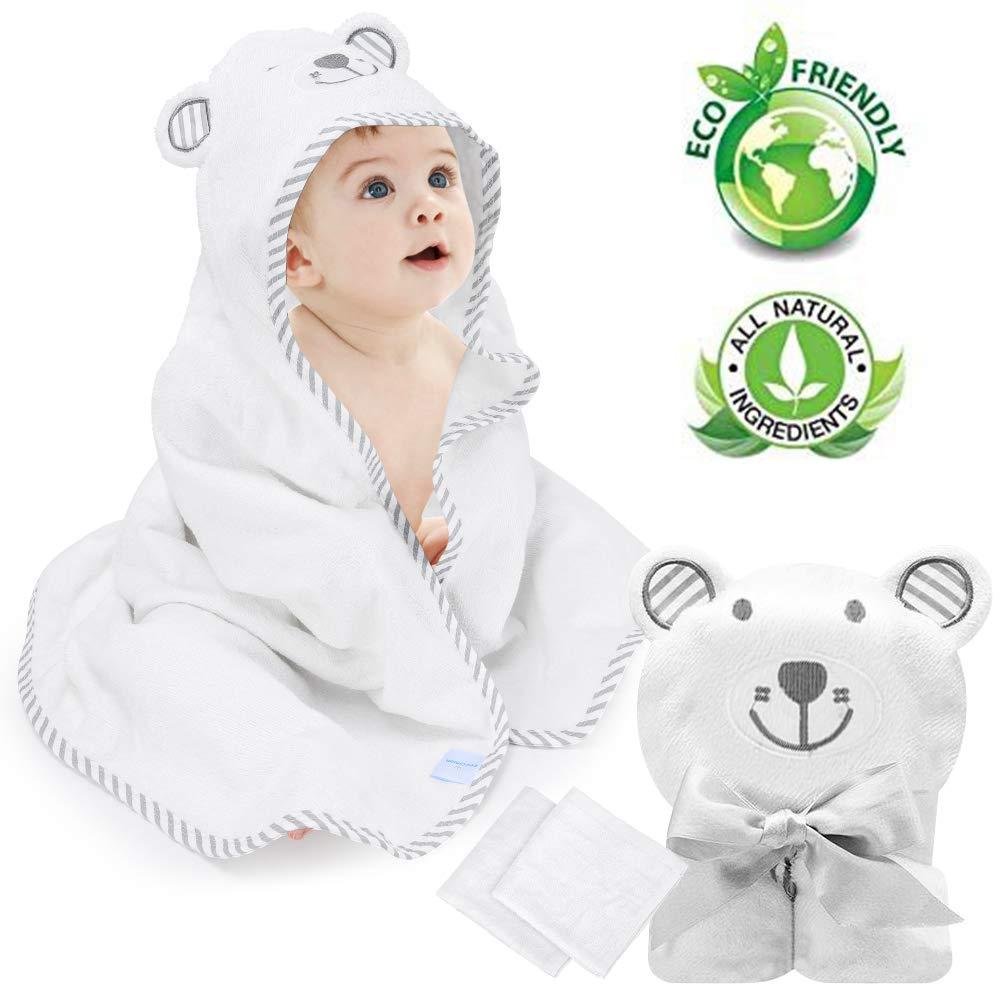 Babybadetuch Eccomum Babyhandtuch mit Kapuze 2 Waschlappen augf/ähig extra weich und dick 100/% Bio-Bambusfaser 90 x 90 perfektes Geschenk f/ür Babys s/ü/ße B/ärenstickerei