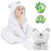 Eccomum Baby Hooded Towel Organic Bamboo Baby Bath Towels for Toddlers, Ultra Soft, Super Absorbent Thick, Large 35  x 35 , Cute Ear Design, 2 Washcloth, Perfect Baby Shower for Boys and Girls