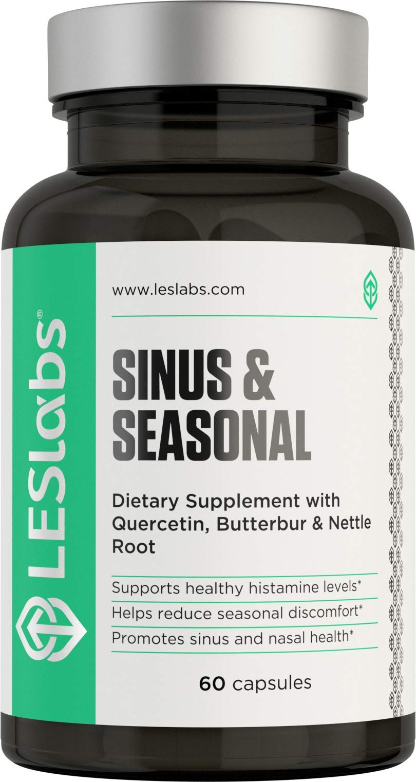 LES Labs Sinus & Seasonal, Sinus Relief & Seasonal Discomfort Supplement for Healthy Histamine Levels, Respiratory & Nasal Health with Butterbur, Quercetin & Nettle Root, 60 Capsules by LES Labs