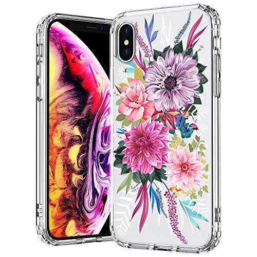 MOSNOVO Case for iPhone Xs/iPhone X, Blossom Floral Flower Pattern Clear Design Printed Transparent Plastic Hard with TPU Bumper Protective Case Cover for Apple iPhone X/iPhone Xs