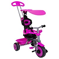 Charles Bentley Pink Children's Girls 4 In 1 Trike With Canopy & Safety Guard