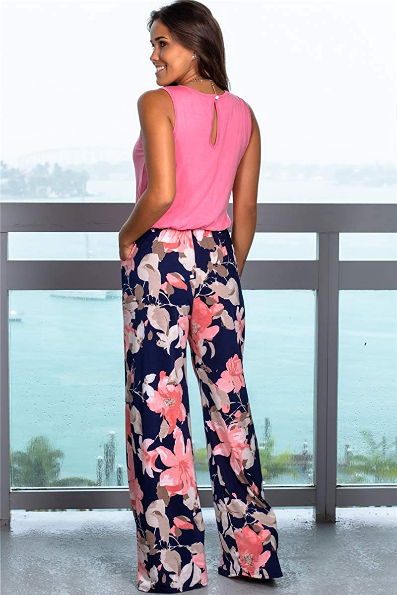 ALAIX Womens Casual Sleeveless Jumpsuit Flower Printed Overall Long Pants Romper Playsuits with Pockets