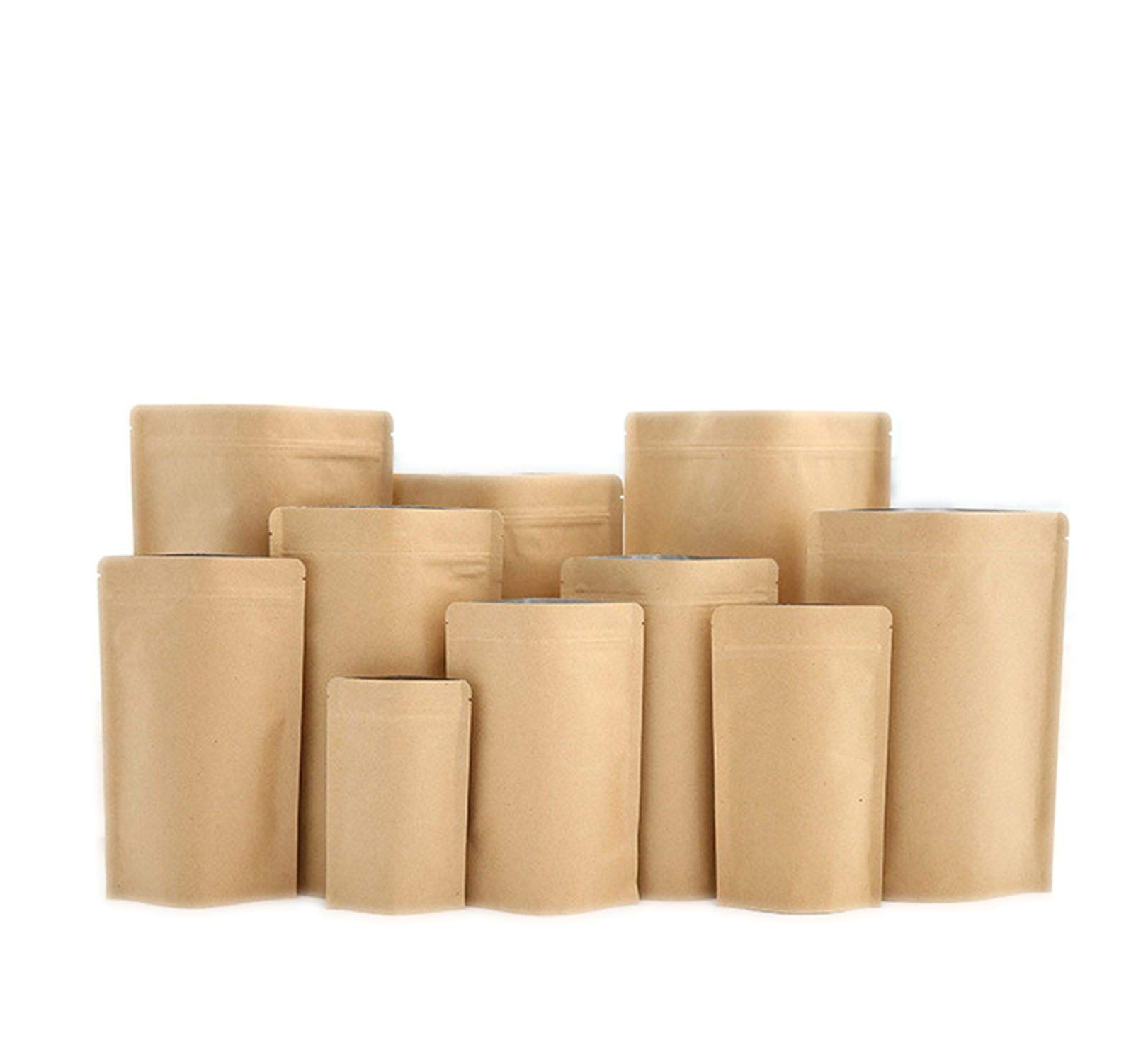 100 Pcs High Barrier Kraft Paper Zipper Coffee Pouch Bag Zip Lock Food Gift Cookie Baking Packaging Paper Bags,20x30cm