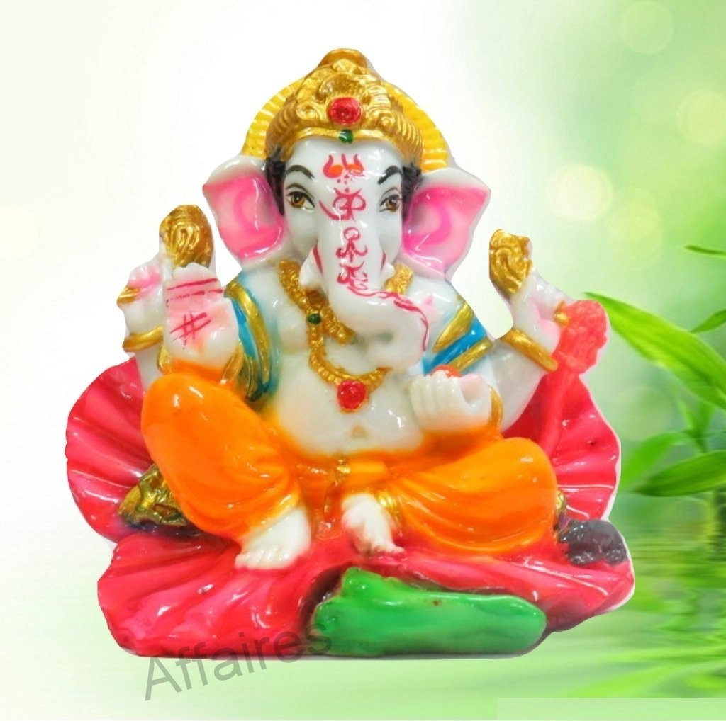 Affaires God Ganesh On Jasvanti Flower | Ganpati | Lord Ganesha Idol | Statue For Car Dashboard | Home Decor | Gifting | G-483