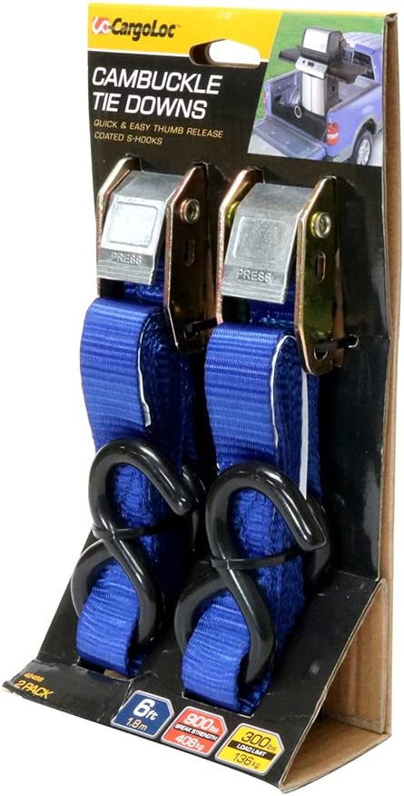 etc Lawn Equipment 6 Ft - BLUE Premium Cam Buckle Tie Downs 900 Lbs Break Strength Motorcycles 300 Lbs Load Cap Cargo Straps for Moving Appliances 2 Pk