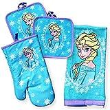 Disney Frozen Elsa Kitchen Set - 2 Piece Set with Oven Mitt, 2 Pot Holders, and Towel Set (Disney Frozen Elsa Kitchen Set)