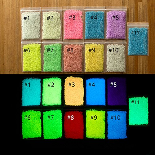 (110g Fluorescent Super Bright Glow in the Dark Sand Particles Glow Pigment 11 Colors(10 grams Each, 110 Grams)