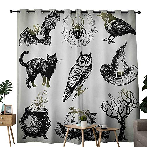 NUOMANAN Bedroom Curtains Vintage Halloween,Halloween Related Pictures Drawn by Hand Raven Owl Spider Black Cat,Black White,Thermal Insulated Room Darkening Window Shade -