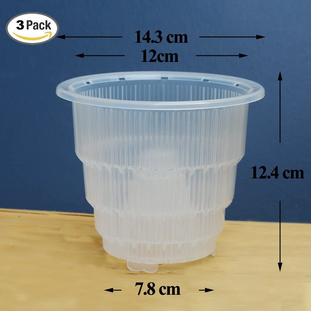 with holes 5 Clear orchid pot 14cm diameter