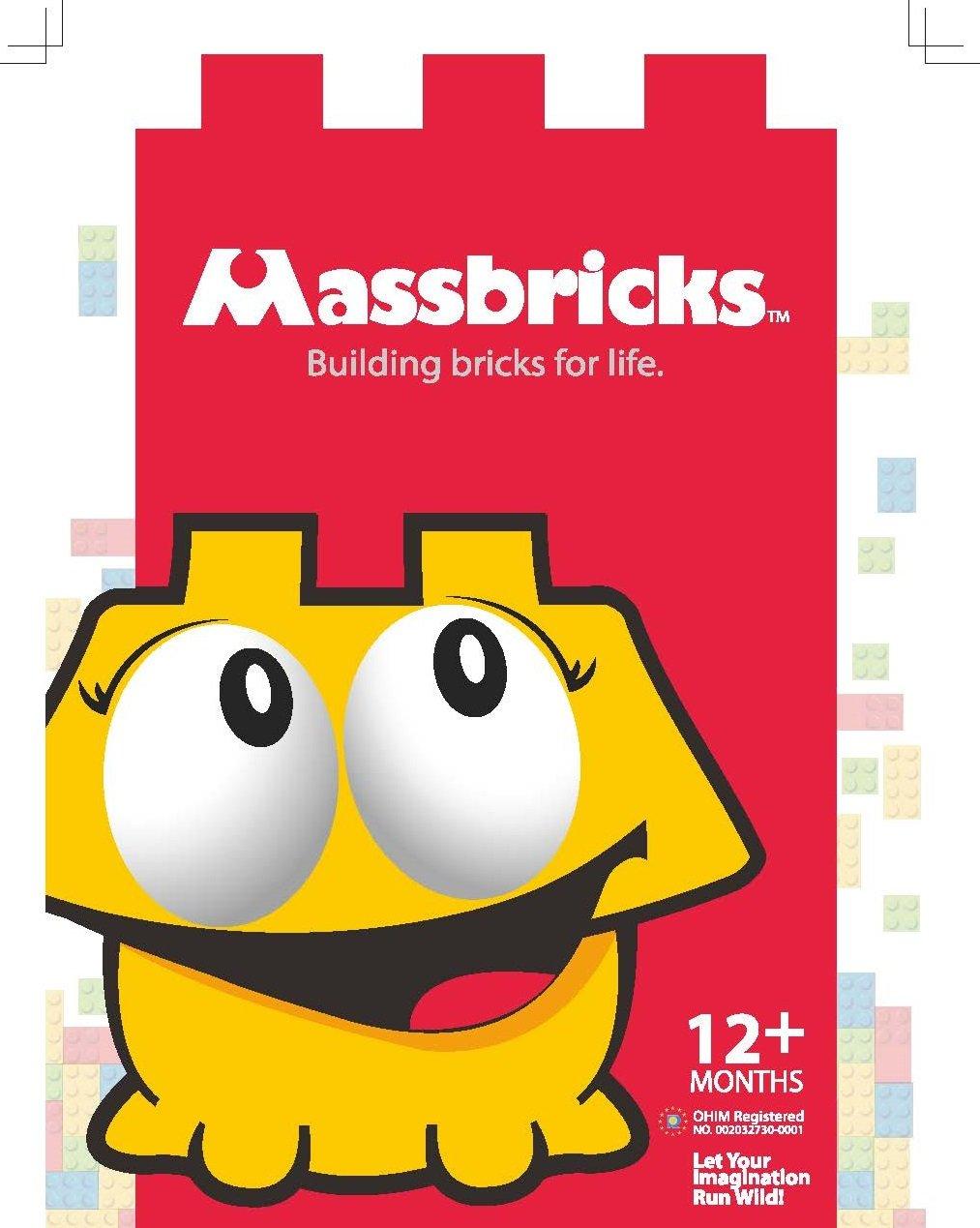 MassBricks Jumbo Plastic Building Blocks - 86 Pieces Giant Toddler Bricks - Kids, Boys, Girls Age 1 - 8 Play Large Educational, Construction, Stacking Toys - BPA Free - Storage bin for Toys