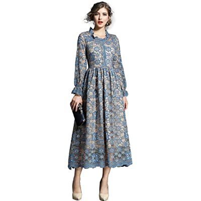 Ababalaya Women's Elegant Faux Wrap Long Sleeve Full Lace Maxi Runway Evening Dress at Women's Clothing store