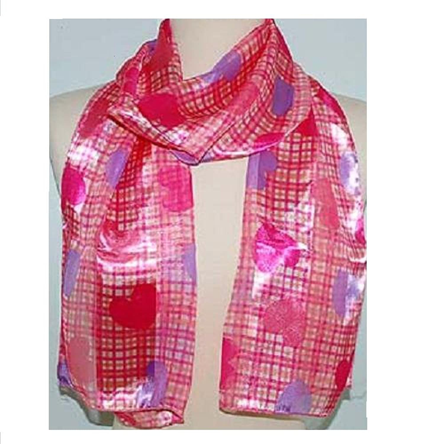 "Scarf / Belt ~ Valentine ~ Red/Pink & Lavender Hearts on Plaid ~ 13"" x 60"""