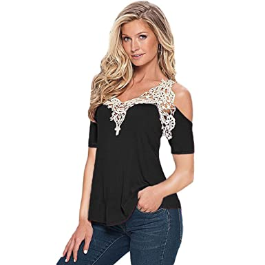 45f430a303d17 Kavitoz Women Off Shoulder Lace Top Long Sleeve Blouse Ladies Casual Tops  Shirt  Amazon.co.uk  Clothing