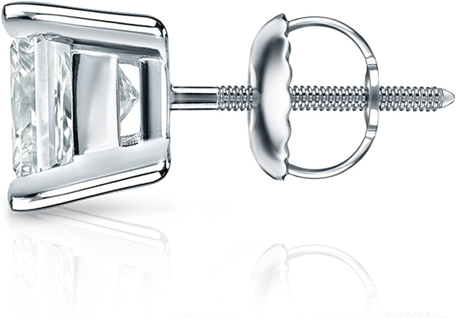 14k White Gold Princess Diamond Simulated Cubic Zirconia SINGLE Stud Earring 4-Prong 1ct,Excellent Quality