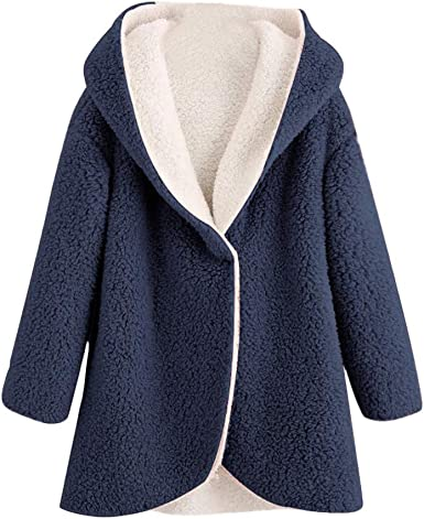 Amazon Com Yeyamei Abrigo De Invierno Para Mujer Talla Grande Calido Dobladillo Curvado Pelo Sintetico Forro Polar Con Capucha Clothing