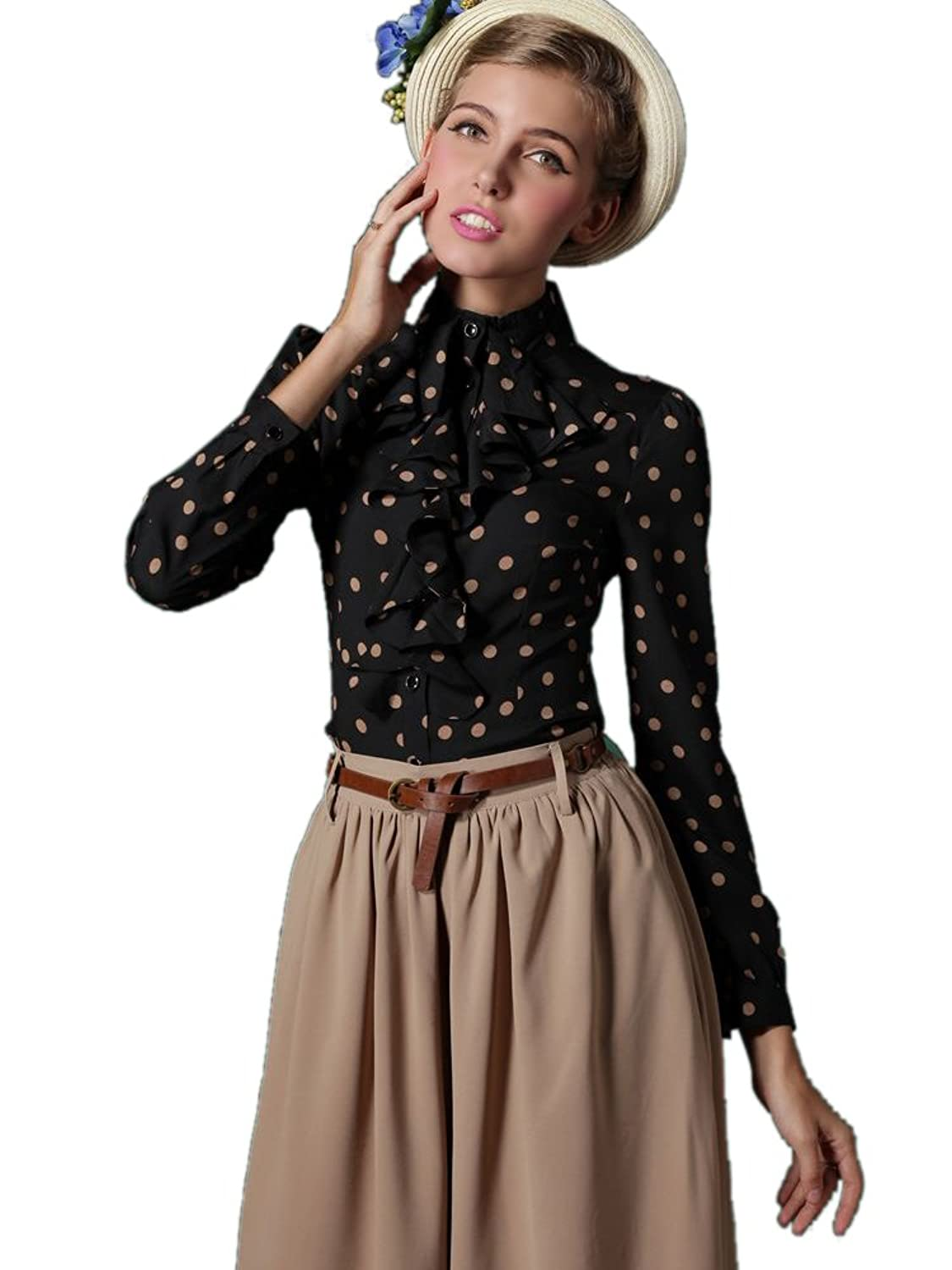 Polka Dot Falbala Shirt With Peplum  AT vintagedancer.com