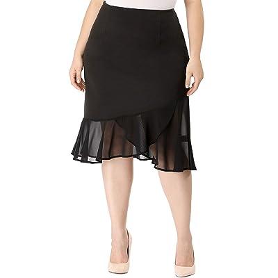 Agnes Orinda Women's Plus Size Chiffon Stretch Asymmetric Hem Ruffle Fishtail Skirt at Amazon Women's Clothing store