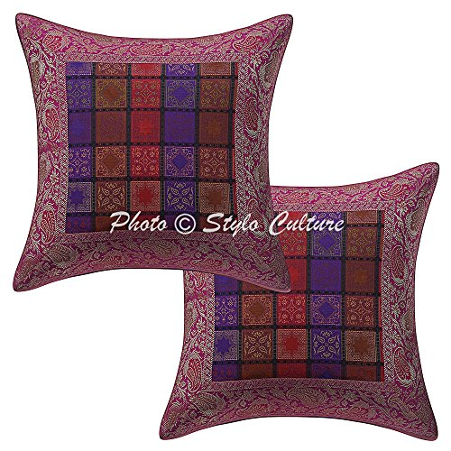 Stylo Culture Indian Brocade Jacquard Paisley Outdoor Throw Pillow Covers Brocade Purple 40x40 cm Traditional Geometrical (Set of 2 Pcs) Square Cushion Covers
