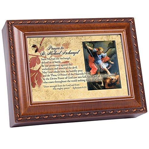 Prayer to St. Michael Archangel Wood Finish Jewelry Music Box Plays Handel's Hallelujah]()